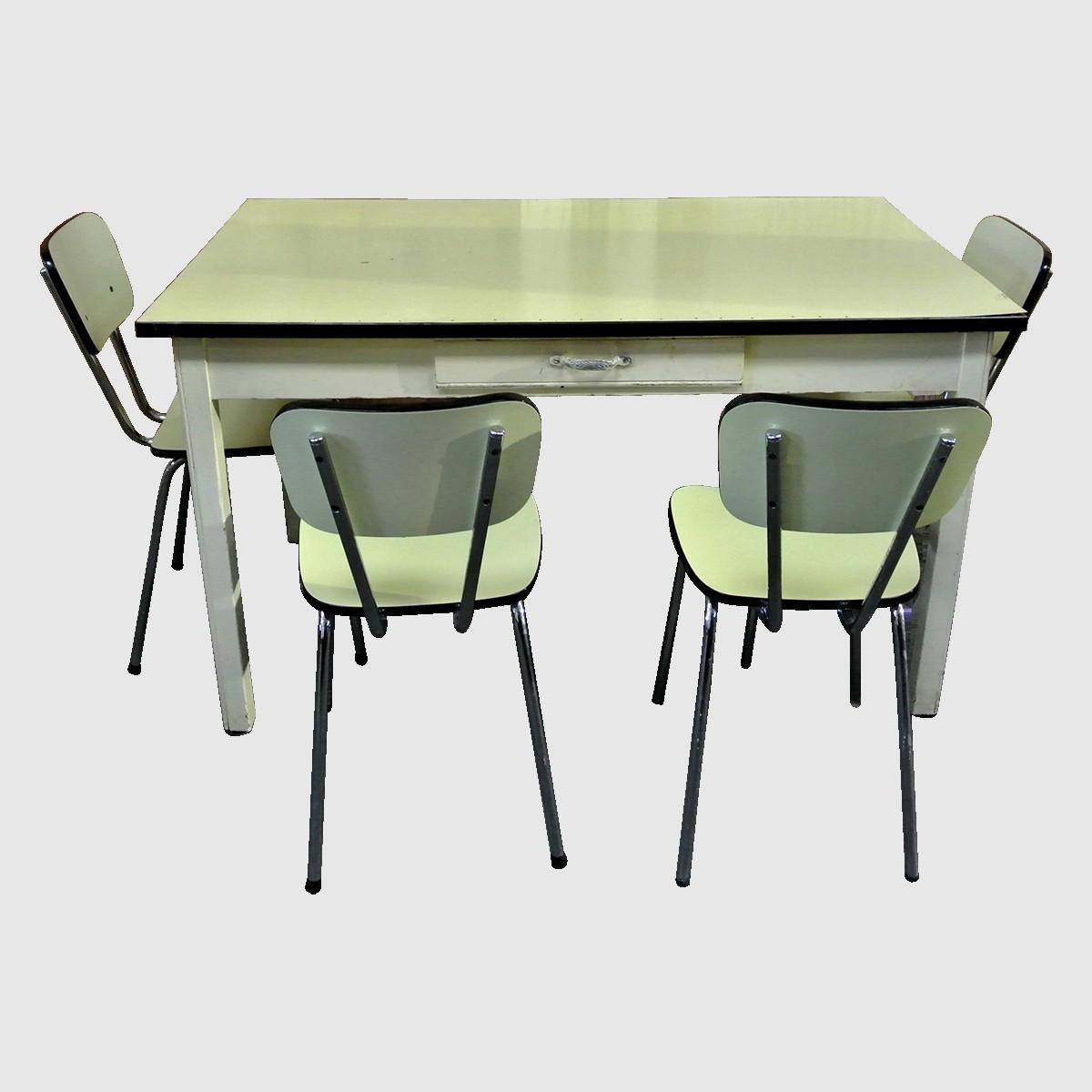Formica Yellow Kitchen Table 4 Chairs Vintage 1960 Le Palais Des Bricoles