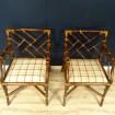 Paire de fauteuils Vintage rotin - bambou esprit chinois
