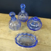 Toilet set with blue glass vials and soap holder