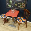 Bistro table Vintage wood & red formica