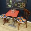 Table de bistrot Vintage bois & formica rouge