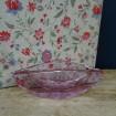 Original cendrier en cristal moulé rose violacé Vintage