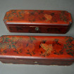 "2 Old Chinese red lacquered boxes ""Flowers and birds"""