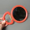 Miroir de toilette rouge & or style 1970