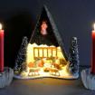 Vintage kitsch glitter nativity scene & 2 candle holders