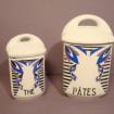 "2 Spice jars ""Pasta"" & ""Tea"" Vintage earthenware"
