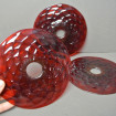 3 huge red mouth blown glass bobbins