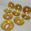9 Très grandes bobèches en verre soufflé bouche ambré