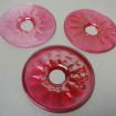 3 Très grandes bobèches en verre soufflé bouche rose