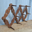 Folding wooden coat rack carved with flowers