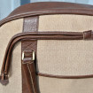 Weekend travel bag in brown imitation leather and beige canvas