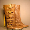 Pair of Vintage boots circa 1970 in leather T.38