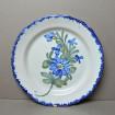 Grand plat faïence VINTAGE à fleurs bleues