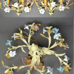 Chandelier and pair of 1900 wall lights with flowers in painted sheet metal