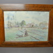 """Watercolour inlaid frame """"Woman sewing in a field"""" 20th century"""