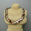 Articulated VINTAGE Necklace Modernist silver plated enamelled brown enamel