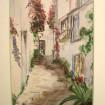 """Aquarelle encadrée """"Village de Provence"""" signée HOUDY"""