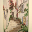 "Framed watercolour ""Village de Provence"" signed HOUDY"