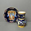 "Small vase & saucer GIEN ""Renaissance"" blue"
