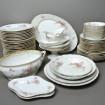 """Service de table ancien porcelaine fine """"Fleurs""""  66 pièces"""