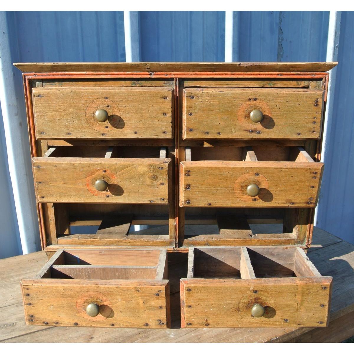 Rangement - petit meuble de métier 6 tiroirs - Le palais des bricoles