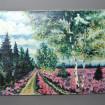 """Grande huile sur toile """"Champs de fleurs roses le long d'une allée de platanes"""""""