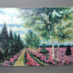 """Large oil on canvas """"Fields of pink flowers along a path of plane trees"""""""