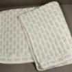 Couverture bébé en laine tricotée bleu et blanc