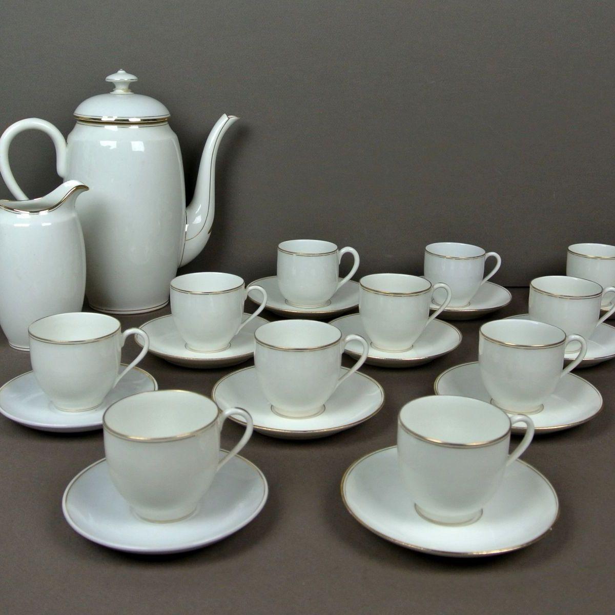 Grand service à café LIMOGES blanc & or - Le palais des bricoles