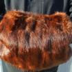 Manchon fourrure véritable VINTAGE marron à reflets roux