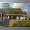 Danish Farm oil on canvas from the 19th century signed