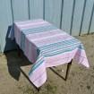 "Tablecloth & 9 napkins striped pink & blue ""Teapots"""