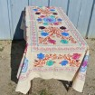 Vintage tablecloth embroidered multicolored psychedelic