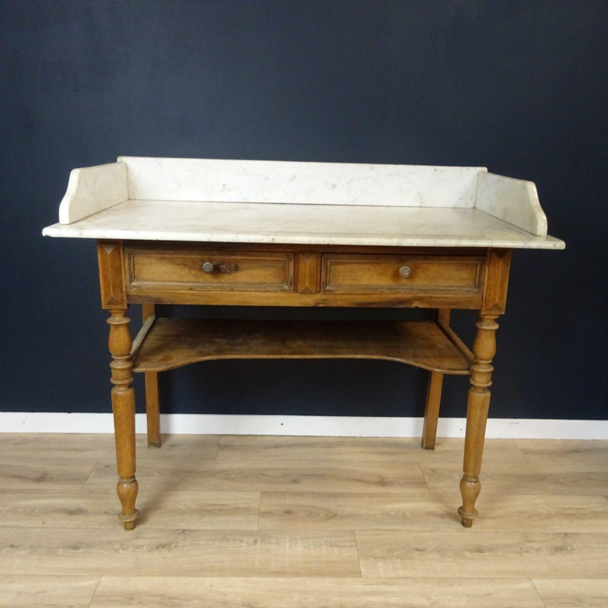 Table de toilette ancienne en bois plateau en marbre Plateau marbre pour table
